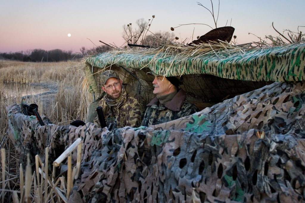 Steve O'Hare and Eric Fowler spending one of many fall mornings hunting geese.   Eric Fowler/NEBRASKAland Magazine
