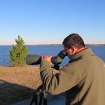 Birder scoping at Branched Oak Lake SRA