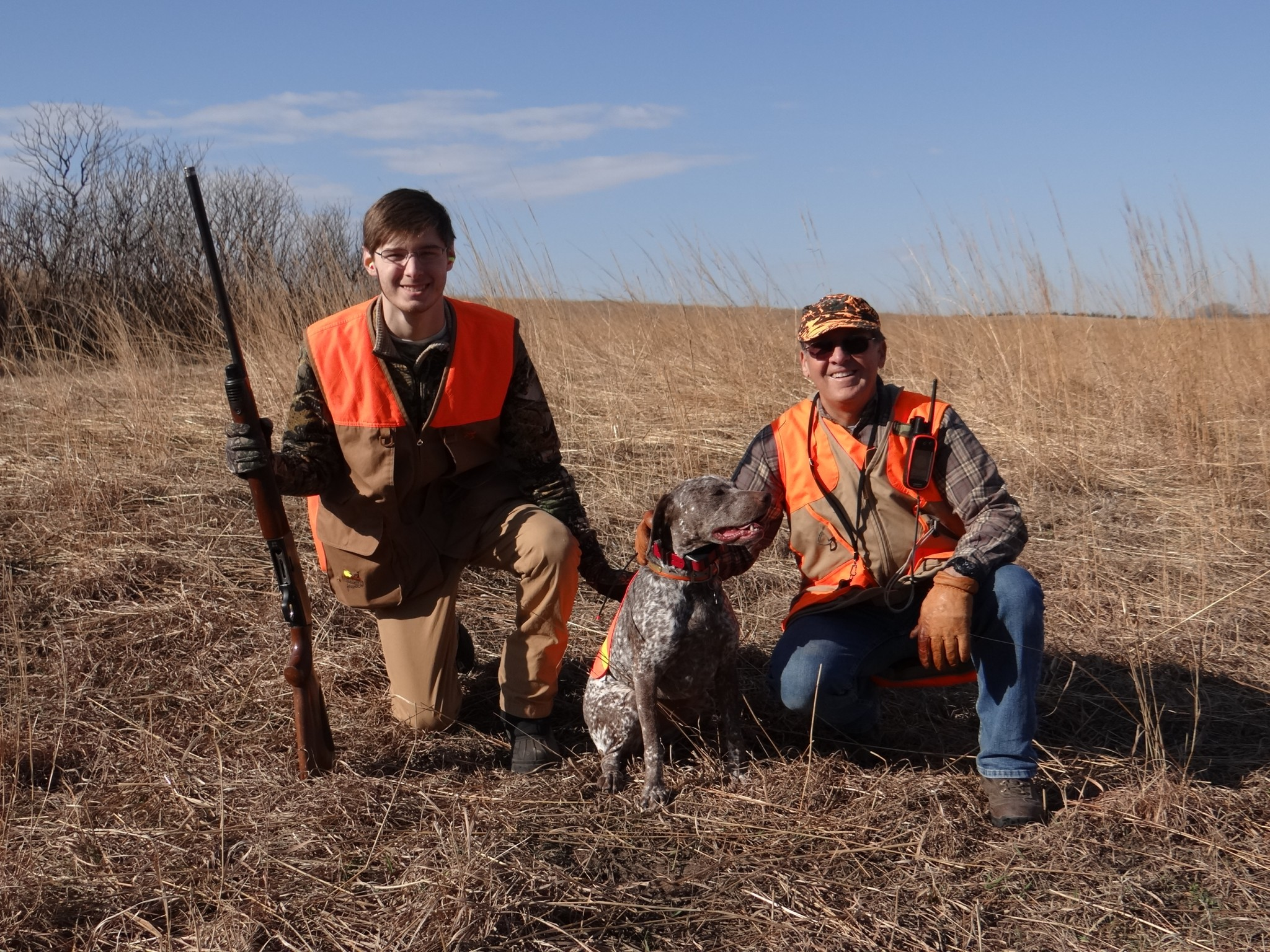 From Left to Right, Noah Wagner, Sophie (a Braque du Bourbonnais) and Hunting Guide, Tom Floyd of Omaha, NE.Photo by Greg Wagner.