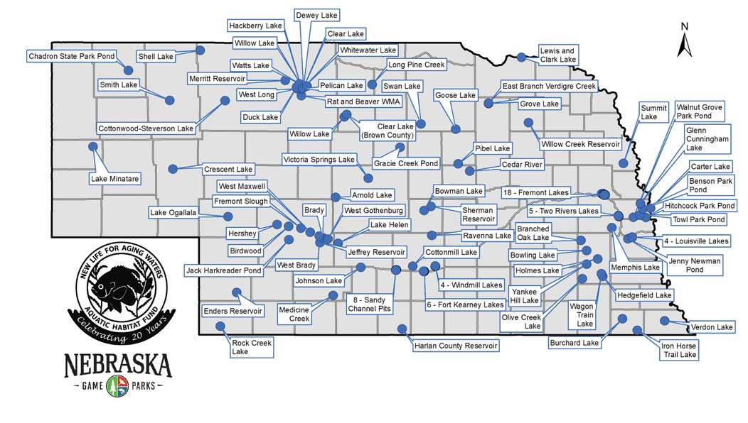 The locations of Nebraska waterbodies that have benefitted from Aquatic Habitat and Angler Access projects are statewide.